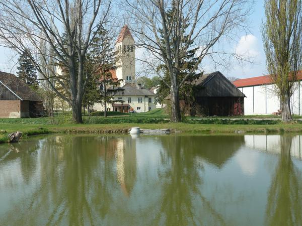 Die Kirche Eibesthal mit Teich im Vordergrund